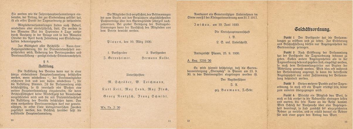 Satzung 1930
